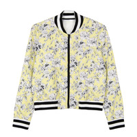 Yellow Retro Floral Print Ribbed Trims Baseball Jacket