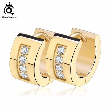 ORSA JEWELS Women Men Fashion Hoop Earrings High Quality 316L Stainless Steel 3 Color Trendy Style Earring Jewelry with CZ GTE46