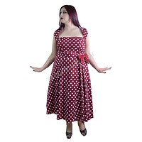60's Vintage Retro Rockabilly Pin-up Red and White Polka Dot Belted bow Party Dress plus size