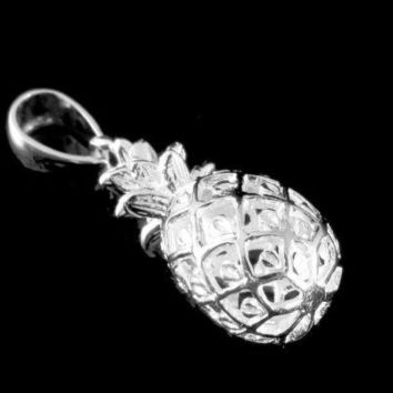 YELLOW ROSE GOLD PLATED SILVER 925 HAWAIIAN 3D PINEAPPLE CHARM PENDANT MEDIUM