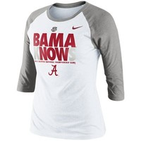 Nike Alabama Crimson Tide Ladies 2013 BCS National Championship Bound Bama Knows Three-Quarter Sleeve T-Shirt - White/Gray