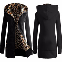 Women Winter Loose Hooded Jacket Thicken Velvet Long sleeve Sweatshirt Hoodies Leopard Pullover Women Coat