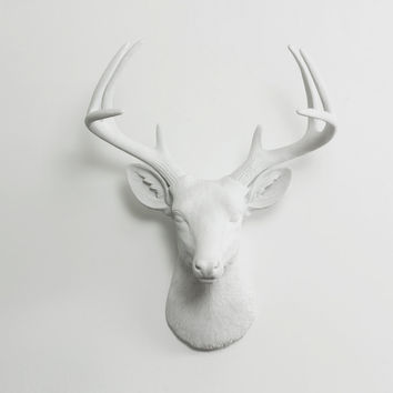 The Virginia White Faux Deer Head