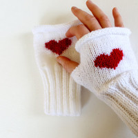 Valentines Day / Knitting Fingerless Gloves. Fashion 2013. Girls Women. . Love. Red. Heart. Winter collection. White  January Gift