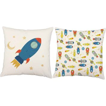 Spaceships Blast Off Throw Pillows
