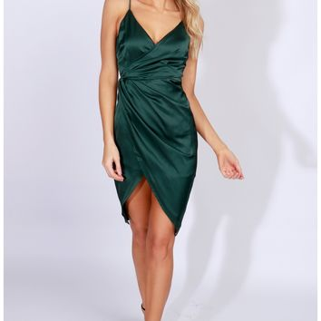 Occassion Satin Tank Dress Hunter Green