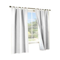 Thermalogic Weather Cotton Fabric Window Tab Curtain Panels Pair White