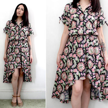 Vintage Floral Print Asymmetrical Hem Jersey Dress - Fits Sizes Small to Large