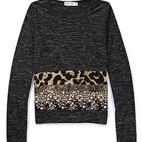 Miss Me Girls 7-16 Sequin-Embellished Leopard/Floral Top - Black