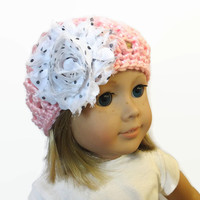 Girl Doll Hat Pink White Flower 18 Inch Doll