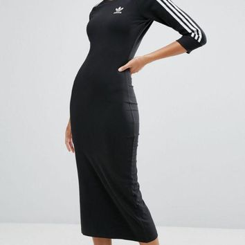DCCKFC8 Adidas Black Three Stripe Midi Dress