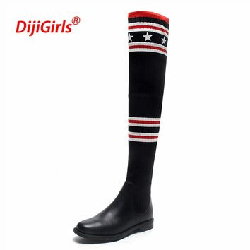 Luxury Brand Socks Boots Women Over The Knee High Boots Autumn Winter Knitted Shoes Long Thigh High Boots Elastic Slim Size35-43