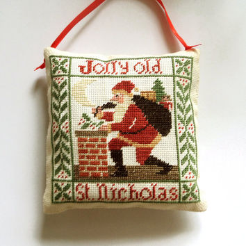 Primitive Christmas decor ornament pillow, Completed cross stitch, holiday decor, christmas gift present, Santa Claus