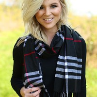Her-Berry Plaid Scarf in Black