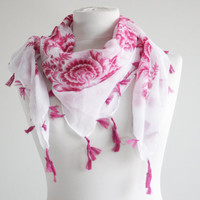 20% OFF for Wanelo savers - Cotton Scarf with fringes, NEW, Turkish Scarf, Oya, Yemeni, Neckwarmer, Floral Fashion scarf, Belt