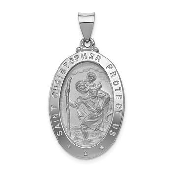 14K White Gold Polished and Satin St. Christopher Medal Pendant