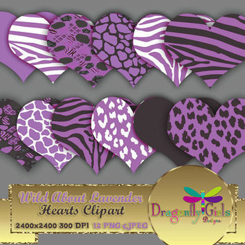 "80% OFF Sale WILD About Lavender Hearts 8"" clipart, commercial use, digital scrapbook papers, vector graphics, printable, Instant Download"