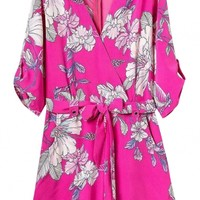 Hot Pink Floral Print Elbow Sleeve Rompers - OASAP.com