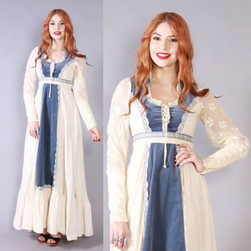Vintage 70s GUNNE SAX DRESS / 1970s Dusty Blue Velvet & Ivory Cotton Corset Lace-Up Maxi S