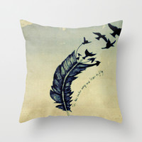 Feather Throw Pillow by LMMM