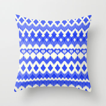 Ikat Pattern in Cobalt Blue & White Throw Pillow by micklyn