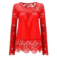 Plus Size 7XL Lace Elegant Women Blouse Shirt Chemise Femme Brand Blusas Femininas Fashion Casual Tops Sexy Hollow Out Clothing