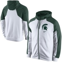 Nike Michigan State Spartans Game Time Full Zip Performance Hoodie - White/Green