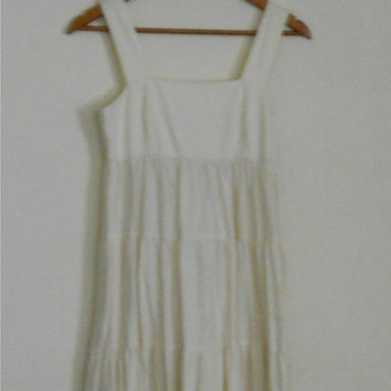 Hippie Boho Dress by Mia Bugeja 100% Cotton Off White 60s Tiered Bohemian Full Length Maxi Sun Dress Size XS /00