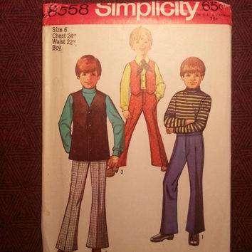 Uncut 1960's Simplicity Sewing Pattern, 8558! Size 6 Boys/Kids/Child/Vests/Bell Bottom Pants/Short or Long Vests