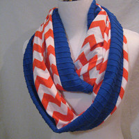 LONG Orange Chevron and Solid Royal Blue Ruffle Jersey Knit Vertical colorblock Infinity Scarf - Denver Broncos team colors - ChevronScarf