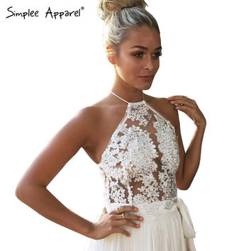 Simplee Apparel Elegant white lace crop top Summer beach backless short halter tops Sexy camis gauze metallic women tank top