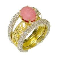 Conch Pearl Ring with Diamonds and Gold