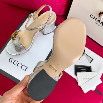 Ready Stock Gucci Silver Leather Mid Heel 75mm Double G Sandal