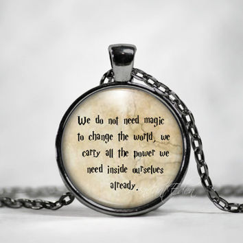 Harry Potter necklace Harry Potter keychain We Carry The Power J K Rowling Jewelry quote Harry Potter