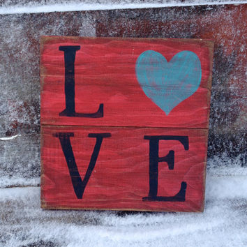 """Primitive """"Love"""" Wood Sign, Red Wall Decor, Distressed, Cottage Chic, Rustic Country Wall Hanging"""
