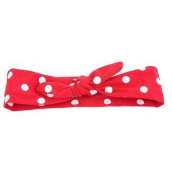 Red and White Dot  Adjustable Tie Knot Headband