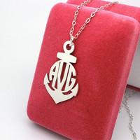 Anchor monogram necklace 925 sterling silver necklace jewelry--name pandant