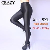 New 2017 XL- 5XL Fit 40-120kg Winter Women Plus Size Leggings High Waist Stretch Sexy Shiny Pants Slim Warm Skinny Pants 5XL 4XL