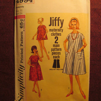Uncut 1960's Simplicity Sewing Pattern, 4994! Size 16 Bust 36 Medium/Large/Women's/Misses/Easy Jiffy Maternity Clothes/Loose Fitting Dress