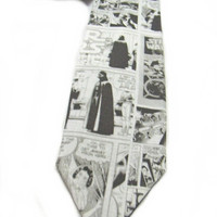 Star Wars Comic Book Page Neck Tie Black Gray and white
