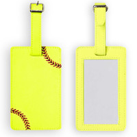 Softball Luggage Tag - Authentic softball leather with real red stitching