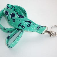 Fabric Lanyard  ID Badge Holder - Lobster clasp and key ring - navy blue auqa anchors whales -   two toned double sided