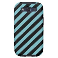 Blue Curacao And Oblique Black Stripes Patterns Galaxy S3 Covers from Zazzle.com