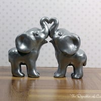 Silver Indian Elephant Wedding Cake Toppers