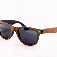 back to school sale Handcrafted Wood Veneer Sunglasses // Mahogany and Turquoise