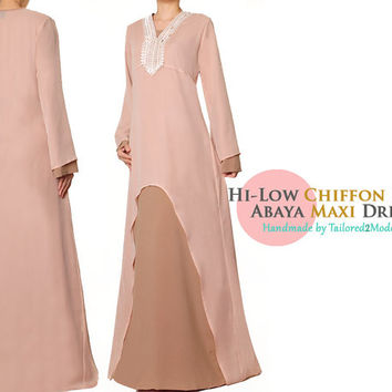 FREE SHIPPING! Beige Brown Cut Out Chiffon Lace Long Sleeved Summer Abaya Maxi Dress - S/M 4707 or XL/1X 2901