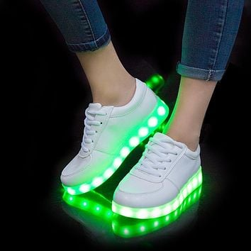 usb led shoes children's luminous shoes sneakers with kids light up shining glowing shoes for girls slippers lights schoenen