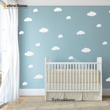 DIY White Cloud Wall Stickers Baby Nursery Bedrooms Home Decor Art Removable Vinyl Murals Wallpaper For Living Rooms 72X45.5CM
