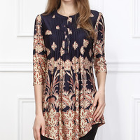 Reborn Collection Navy & Tan Fleur-de-Lis Notch Neck Tunic | zulily