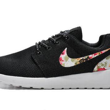 Custom Nike Roshe Run Sneakers Athletic Sport Womens Shoes Black Color With Fabric Flo - Beauty Ticks